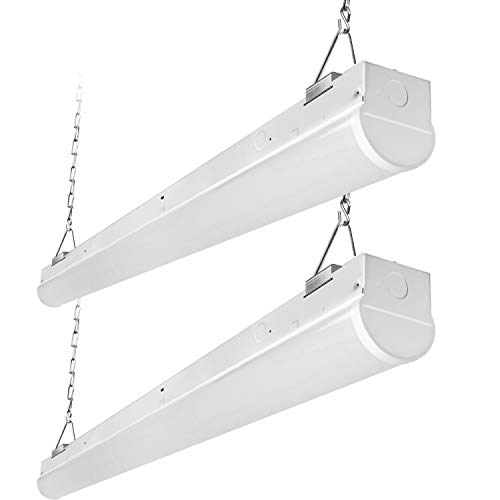 Fluorescent Light Linear Strip - Hykolity 8FT LED Shop Linear Strip Light Fixture Linkable 75W 9825lm Replaces up to 5-lamp 32-Watt T8 Fluorescent Tube Low Bay Commercial Industrial 5000K 0-10V Dimmable UL DLC Listed 2 Pack