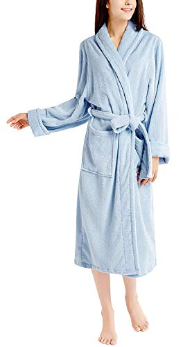 Ink+Ivy Terry Cloth Robes for Women, 100% Cotton Bath Robe Women's Towel Robe, Blue, Large/X-Large
