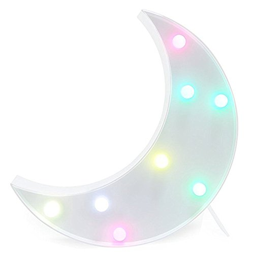 Kids Room Night Lights Moon Shape Signs Light Night Light Wall Decoration for Living Room,Bedroom,Home, Christmas (Moon) by SevenJuly