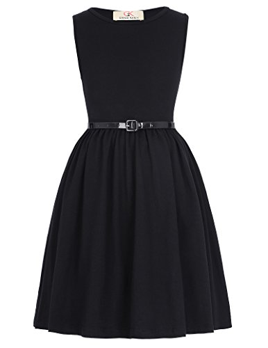 GRACE KARIN Black Casual Swing Dresses for Little Girls 11-12yrs Cl990-1