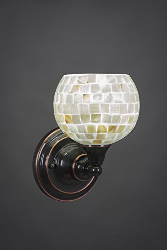 One Light Wall Sconce with Seashell Glass in Black Copper (Copper Ul Sconce)