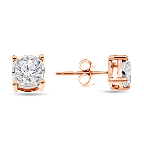 Natalia Drake Rose Gold Plated Sterling Silver Miraculous Diamond Stud Halo Earrings (.50ctw, H-I Color, I1-i2 Clarity) ()