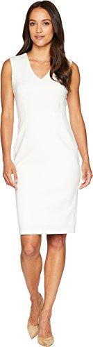 - Calvin Klein Women's V-Neck Scuba Sheath Dress CD8M17NY Cream 8