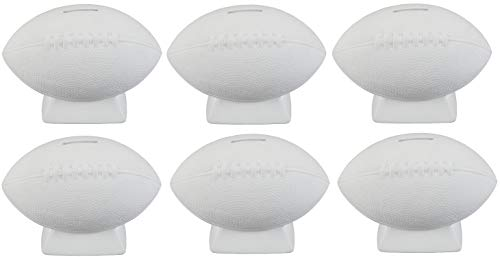 Creative Hobbies Football Bank, Case of 6, Unfinished Ceramic Bisque, with How to Paint Your Own Pottery Booklet