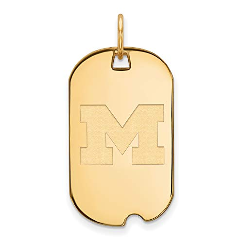 Michigan Wolverines School Letter Logo Dog Tag Pendant Gold Plated Silver 30x18mm