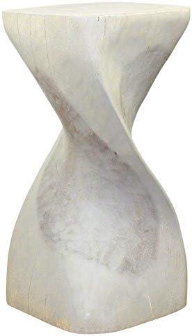 Haussmann Single Twist Stool Table 12 in SQ x 24 in H Grey Oil