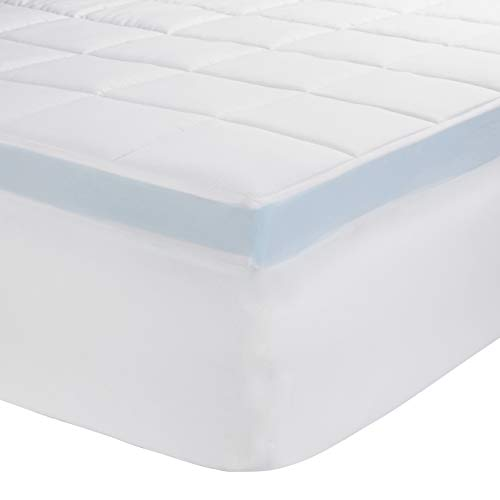 AmazonBasics Down-Alternative Gusseted Mattress Bed Topper Pad with 3-Inch Memory Foam – Full