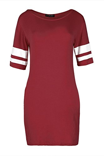 Womens Mini Bodycon Dress Ladies Fitted 3/4 Sleeve Stripes Stretchy Tunic (Football Dress)