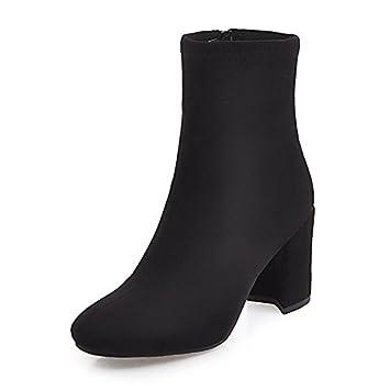 ZHZNVX HSXZ Zapatos de Mujer Moda otoño Invierno Polar Botas Botas Bota Chunky talón Puntera Redonda Botines/Botines Botas Mid-Calf Vestido para Oficina: ...