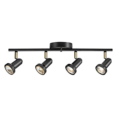 "Globe Electric 59443 Melo 4 Track Lighting, Antique Brass Accents, Bulbs Included, 5.31"", Dark Bronze"