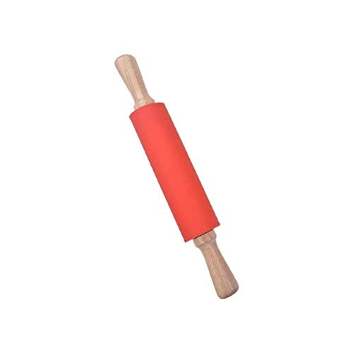 Silicone Rolling Pin Non Stick Surface with Wooden Handle Pin for Kitchen Utensil Tools Ideas for Bakers by Khandekar (12 Inch) ()