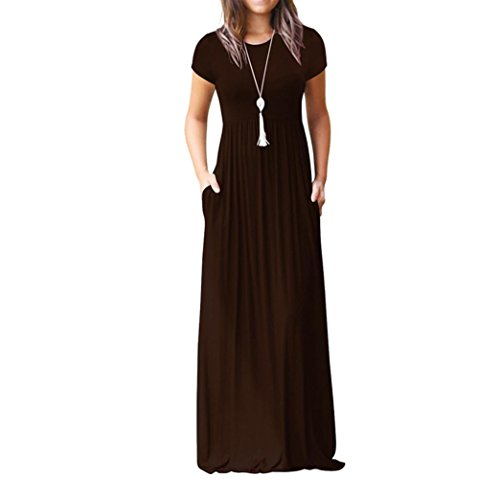 Pervobs Dress, Big Promotion! Women Casual Solid O-Neck Casual Pockets Short Sleeve Floor Length Dress Loose Party Dress (S, Coffee) by Pervobs Dress