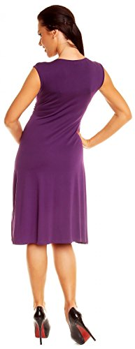 Zeta Ville Mujeres V Cuello Casual Lisonjero Verano Círculo Vestido 256z Púrpura