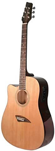 Kona K1EL Left-Handed Acoustic Electric Dreadnought Cutaway Guitar in Natural High Gloss Finish (Acoustic Basses)