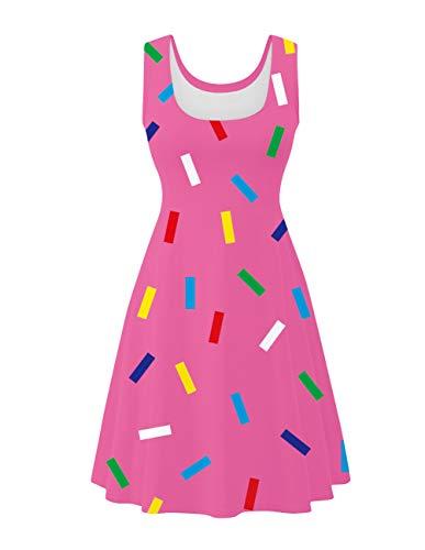 UNIFACO Women Halloween Festival Sleeveless Ice Cream Themed Printed Summer Maxi Dress Large