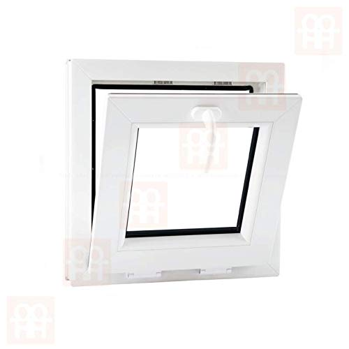 6 Kammern 450x450 mm | wei/ß Kunststofffenster 45x45 cm Kippfenster