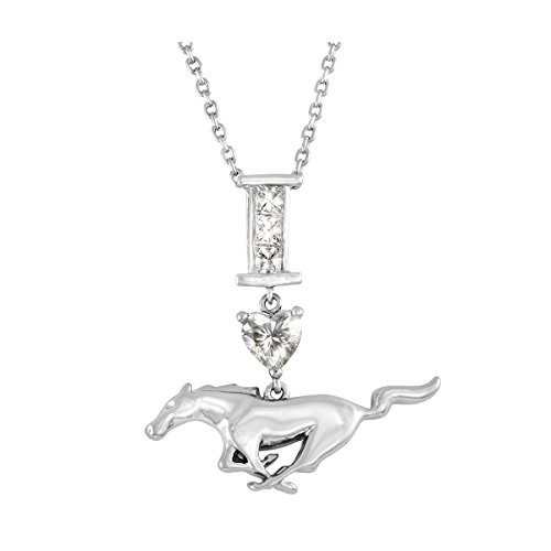 Sparkling and unique official Ford Mustang Pony necklace dazzling with Zirconia crystals from Swarovski. Rhodium plated solid Brass