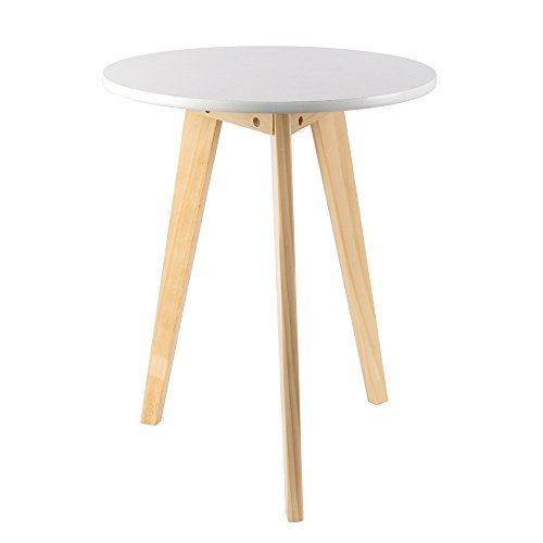 Solid Wood End Table Modern Nightstand Round Frame Side