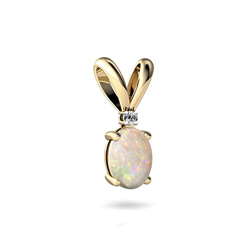 14kt Yellow Gold Opal and Diamond 7x5mm Oval Solitaire Pendant