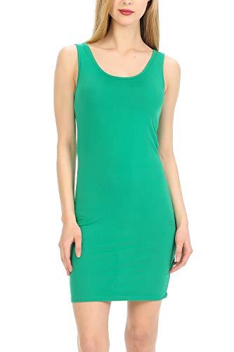 MINEFREE Women's Scoop Neck Slim Fit Stretchy Bodycon Tank Mini Dress KellyGreen L