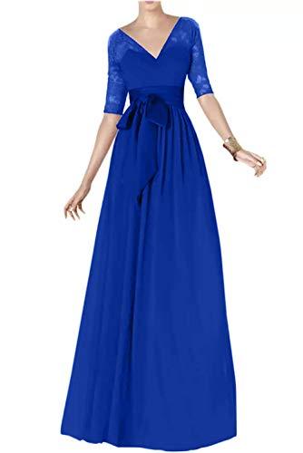Marie Traube Partykleider Spitze Chiffon Brautmutterkleider Lang Langarm Braut Blau Abendkleider La Royal qdwB6WCEFd