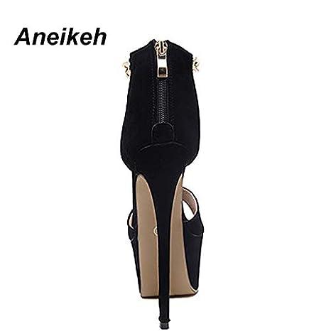 2fa68a3ae0c Amazon.com  Women T Strap Chain Stiletto Heels Shoes Platform 16CM Ultra  High Sandals Summer Open Toe 999-17  Black  Garden   Outdoor