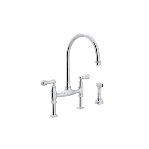 Perrin Rowe Plumbing (Rohl U.4719L-APC-2 Perrin and Rowe Deck Mount Bridge Kitchen Faucet with Sidespray with High C Spout and Metal ALSace Levers, Polished Chrome)