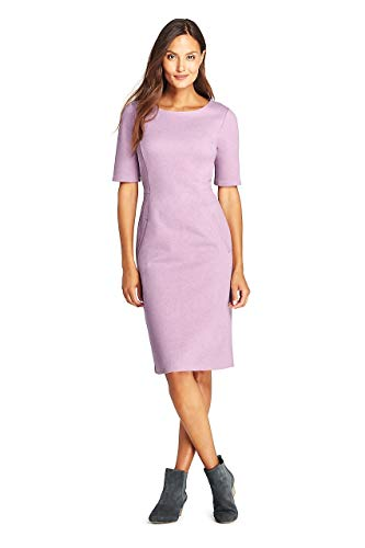 (Lands' End Women's Ponte Knit Sheath Dress with Elbow Sleeves, 14, Mauve Orchid Heather)