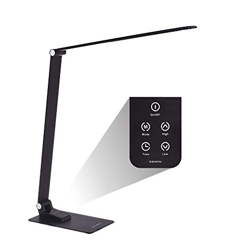 (6-Level Dimmable LED Desk Lamp with USB Charging Port, Ultrathin Office Reading Light with 3000-5000K Color Temperature, CFL Task Lamp with Metal Clamp, Memory Function, Touch Control & Timer)