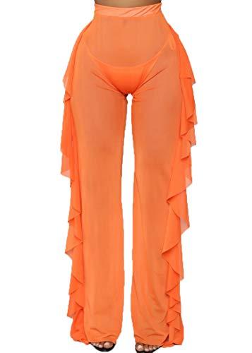 (Nihsatin Women's Perspective Sheer Mesh Fishnet Ruffle Pants Swimsuit Bikini Bottom Cover up )