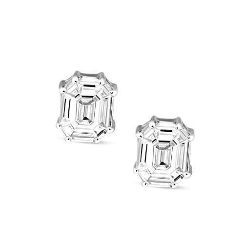 (Mothers Day Gift Emerald Shape Diamond Stud Earring 1ct IGI Certified Natural Diamond Halo Earring For Women Natural Diamond SI-HI Quality 14K Real Diamond Pie Cut Halo Earring (Jewelry Gifts For Mom))
