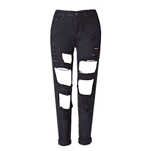 Saoye Fashion Trois Femmes Couleurs Trou Denim Jeans Loose Droites Dtruit Pantalons Vtements Jeans Dchirs Loisirs Pantalons Noir