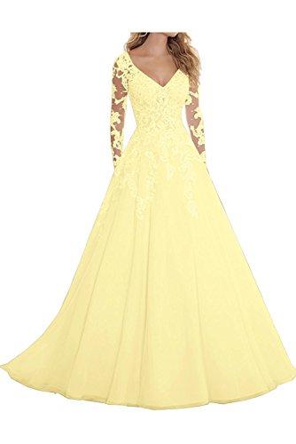 Spitze Linie Braut Prinzess Abiballkleider Langarm Gelb Elegant Abschlussballkleider Hell Gelb mia Hell Rock Abendkleider A La qfnw75XWx