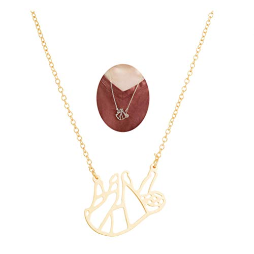 MUZHE Gold Silver Sloth Charm Necklace - Stylish Cute Animal Peandant Jewelry (N:Hollow Golden Necklace) (Bear Hollow)