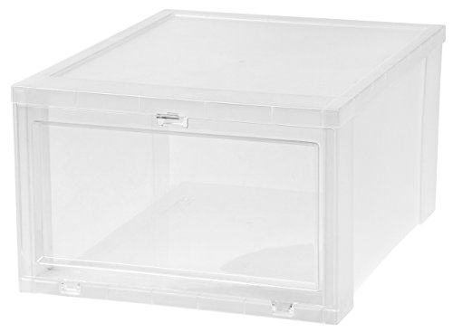 IRIS Large Drop Front Shoe Box, 6 Pack, - Drop Drawers Down