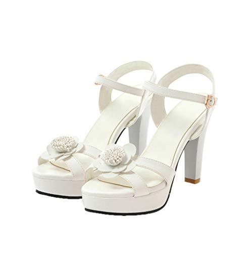 dameshoge met stevige Agoolar pumps wit sandalen hoge Gmxlb009908 hak dPwOqxOE