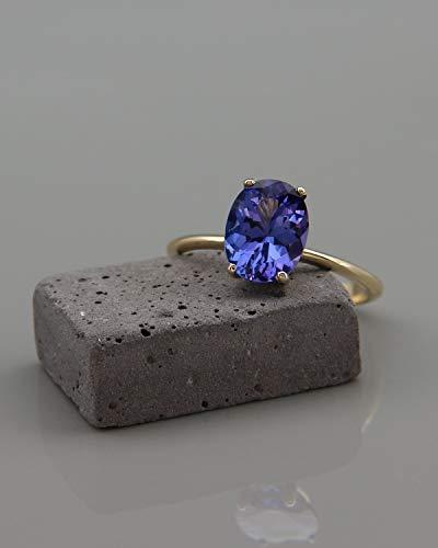 Solitaire Tanzanite Ring - Tanzanite Engagement Ring   14k Solid Gold Solitaire Tanzanite Ring   Tanzanite December Birthstone Ring