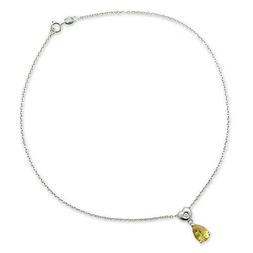 Gioie Chaîne de Cheville Femme en Or 18 carats Blanc avec Quartz Citrine et Diamant H/SI, Cm 23, 3 Grammes