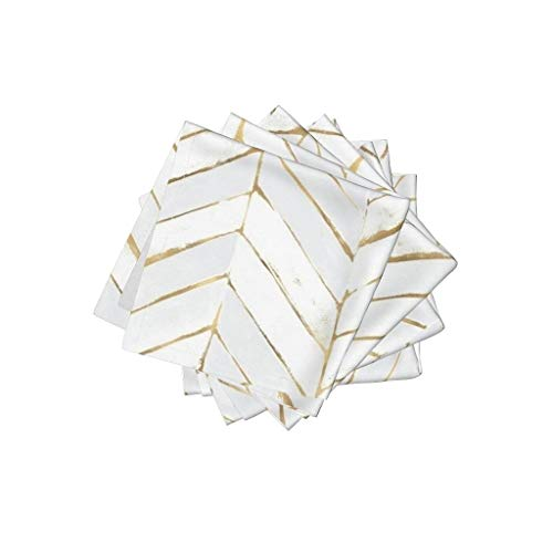 Roostery Chevron Linen Cotton Cloth Cocktail Napkins - White Gold Stripe Herringbone Mod by Crystal Walen (Set of 4) 10 x 10in