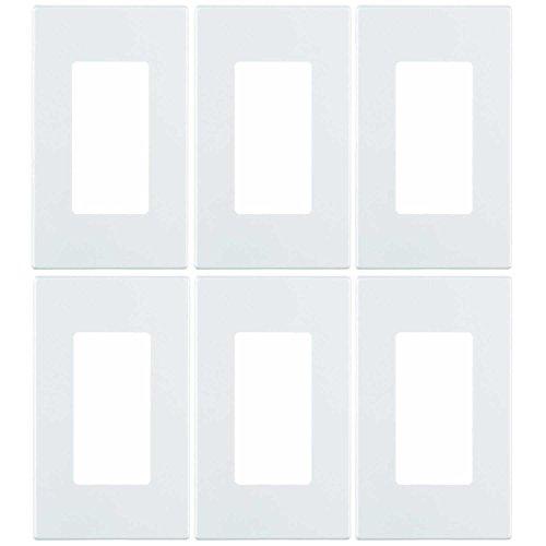 Screwless 1 Gang Leviton - Leviton 80301-SW 1-Gang Decora Plus Wallplate Screwless Snap-On Mount (6 Pack, White)