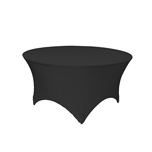GFCC 4ft. Black Round Stretch Tablecloth Table Cover
