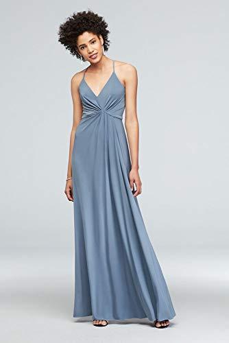 (David's Bridal Drapey Jersey V-Neck Sheath with Gathered Waist Style DS270005, Slate Blue, 2)
