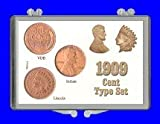 "3"" x 2"" Snaplock Coin Holder for ""1909 Cent Type Set Indian - Lincoln - V.B.D."" (Including Coins)"