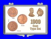 "3"" x 2"" Snaplock Coin Holder for ""1909 Cent Type Set Indian - Lincoln - V.B.D."" (Including Coins) by Marcus"