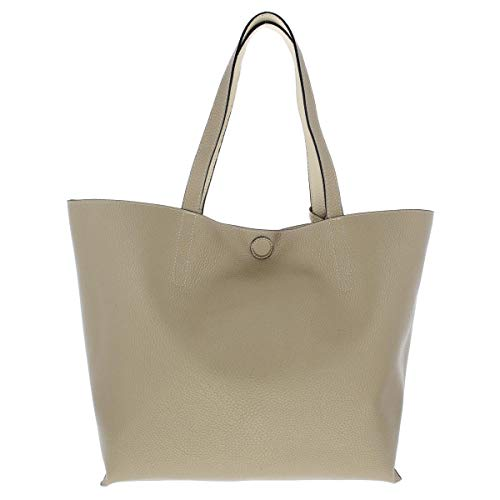 Style & Co. Womens Clean Cut Faux Leather Reversible Tote Handbag Beige Large