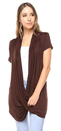 - Free to Live Women's Lightweight Short Sleeve Criss Cross Pullover Nursing Top (XL, Brown)