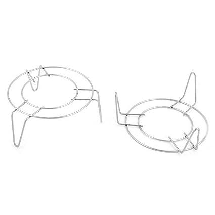 eDealMax acero inoxidable Inicio 3 piernas Diseño Estante de alimentos al vapor Vapor soporte 12cm 2pcs