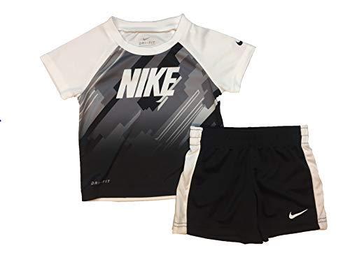 Nike Boy`s Dri-Fit T-Shirt & Shorts 2 Piece Set (Black(66F048-023)/White, 12 Months)