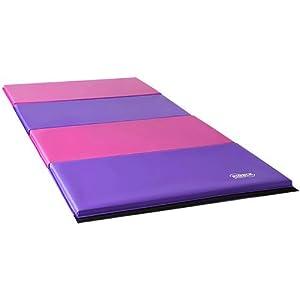 Nimble Sports Folding Gymnastics Mat, 8 Feet X 4 Feet, Pink and Purple