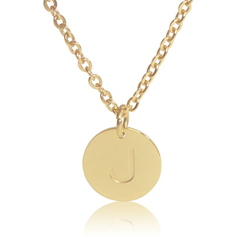 """Name 10k Script Necklace (18K Gold-Plated Round Disc Engraved Initial Pendant 18"""" Adjustable Necklace with Personalized Alphabet Letter (J))"""